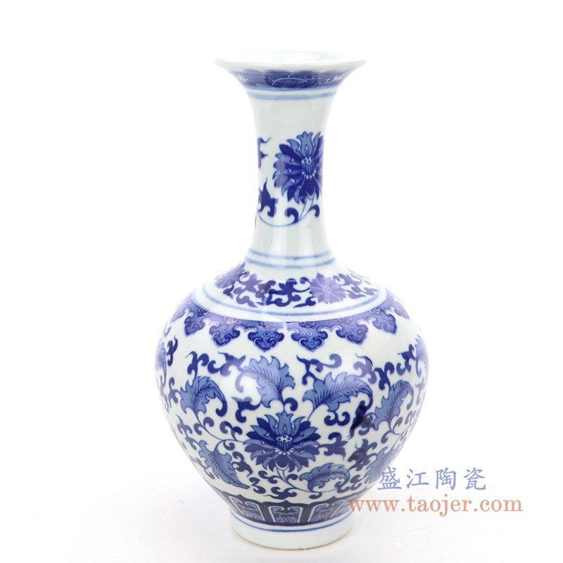 RZNJ06 盛江陶瓷 仿古手绘青花缠枝莲瓷花瓶
