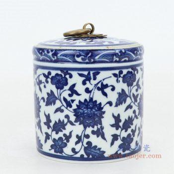 RZNV05 景德镇陶瓷 青花陶瓷茶叶罐普洱饼茶瓷罐储物罐