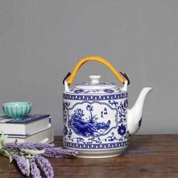 RZPG02-A 景德镇陶瓷 景德镇陶瓷茶壶家用大容量凉茶壶青花玲珑瓷过滤水壶