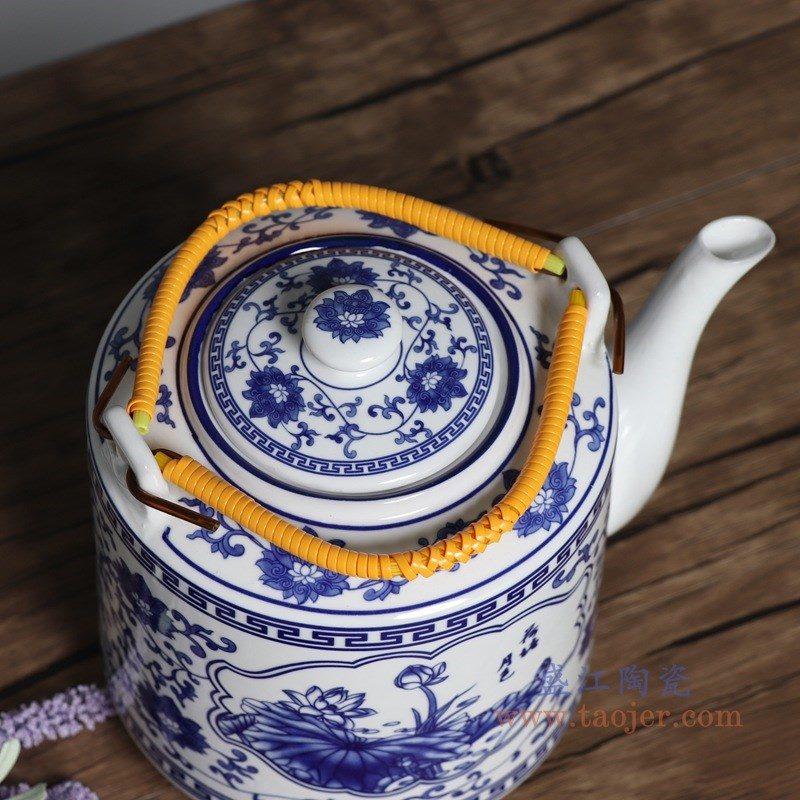 RZPG02-A 盛江陶瓷 景德镇陶瓷茶壶家用大容量凉茶壶青花玲珑瓷过滤水壶