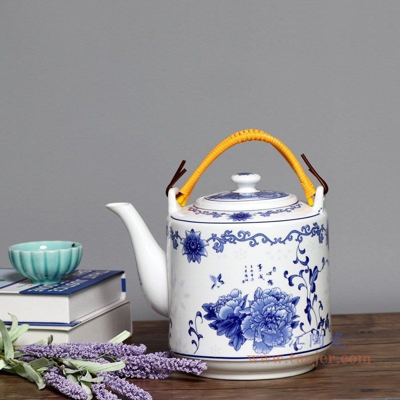 RZPG02-C 盛江陶瓷 景德镇陶瓷茶壶家用大容量凉茶壶青花玲珑瓷过滤水壶