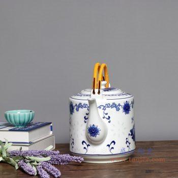 RZPG02-C 景德镇陶瓷 茶壶家用大容量凉茶壶青花玲珑瓷过滤水壶