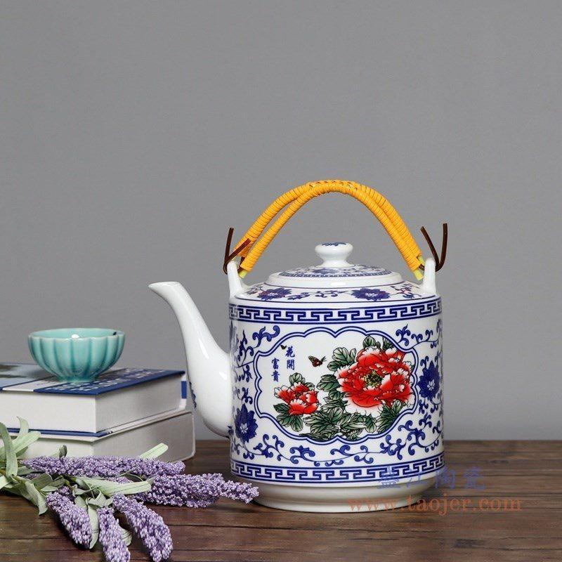 RZPG02-D 盛江陶瓷 景德镇陶瓷茶壶家用大容量凉茶壶青花玲珑瓷过滤水壶