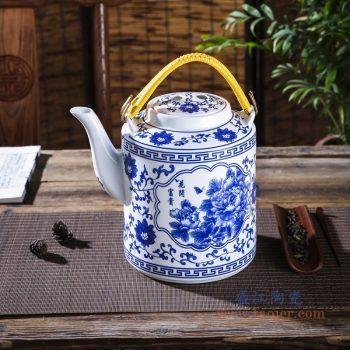 RZPG02-B 景德镇陶瓷 景德镇陶瓷茶壶家用大容量凉茶壶青花玲珑瓷过滤水壶