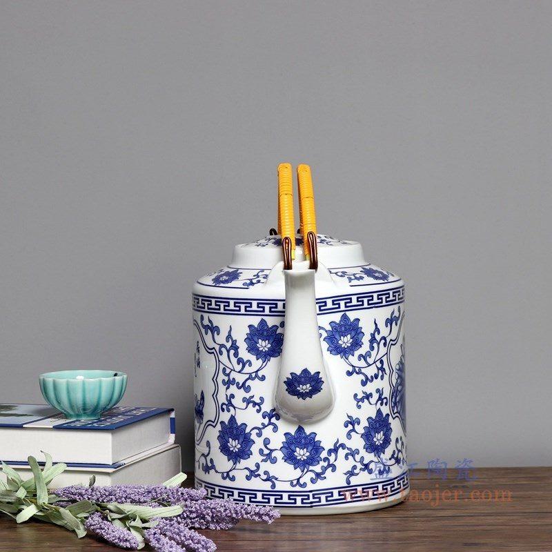 RZPG04-A  盛江陶瓷  景德镇陶瓷茶壶家用大容量凉茶壶青花玲珑瓷过滤水壶