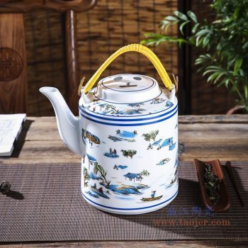 RZPG04-G  景德镇陶瓷 茶壶家用大容量凉茶壶青花玲珑瓷过滤水壶