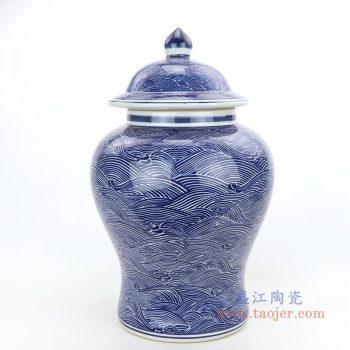 RZPI41 景德镇陶瓷 中国风手绘水波纹带盖将军罐