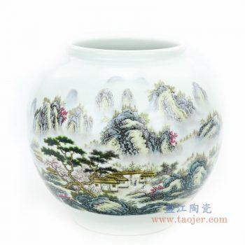 RZPL01 景德镇陶瓷 粉彩山水小缸花瓶无盖陶瓷罐