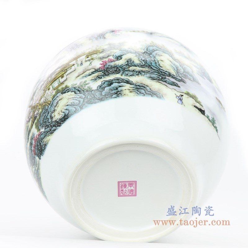 RZPL01 盛江陶瓷 粉彩山水小缸花瓶无盖陶瓷罐