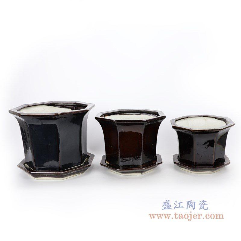 RZPR01 盛江陶瓷 多肉植物花盆陶瓷黑色