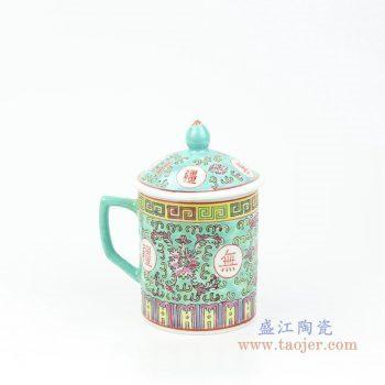 RZPW01-C 景德镇陶瓷 陶瓷手绘粉彩万寿无疆直筒水杯茶具