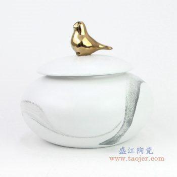 RZQA01_2956 景德镇陶瓷 现代陶瓷手绘水墨储物罐摆件