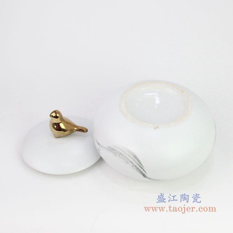 RZQA01 盛江陶瓷 现代陶瓷手绘水墨储物罐摆件