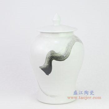 RZQA02 景德镇陶瓷 新中式风格陶瓷水墨画将军罐摆件