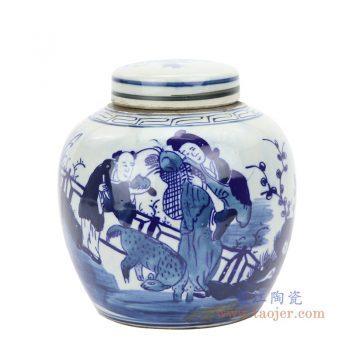 RZFZ06-G 景德镇陶瓷 仿古青花人物茶叶罐