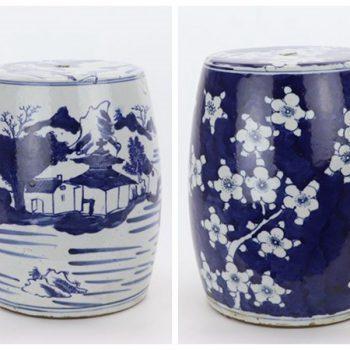 RZKT27-A-B 景德镇陶瓷 青花手绘山水楼台图纹陶瓷凳
