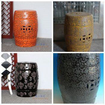 RZPZ13-14-15-16 景德镇陶瓷 现代中式手工雕花梳妆凳换鞋凳陶瓷鼓凳