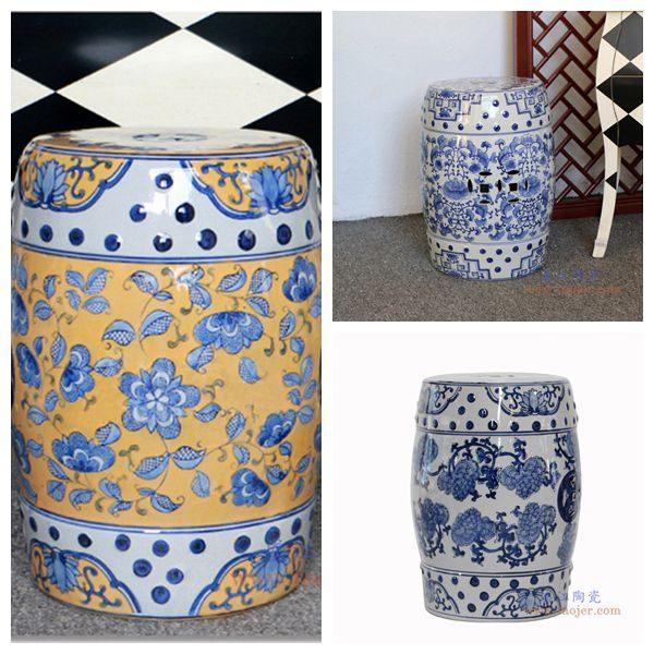 RZPZ17-18-19 盛江陶瓷 现代中式手绘青花陶瓷凳子梳妆凳换鞋凳陶瓷鼓凳