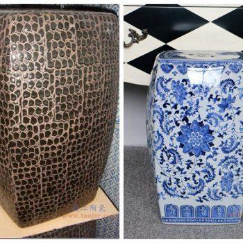 RZPZ20-21景德镇陶瓷 现代中式手工雕花梳妆凳换鞋凳陶瓷鼓凳