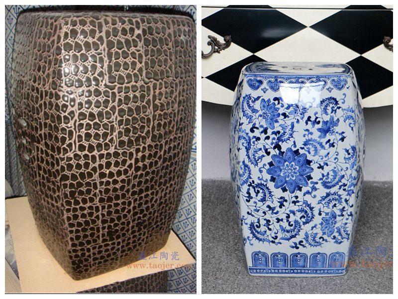RZPZ20-21 盛江陶瓷 现代中式手工雕花梳妆凳换鞋凳陶瓷鼓凳