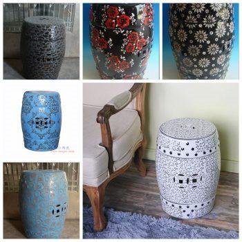 RZPZ22-23-24-25-27-28 景德镇陶瓷 现代中式手工雕花梳妆凳换鞋凳陶瓷鼓凳