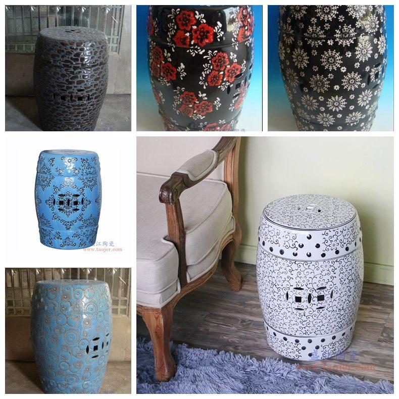 RZPZ22-23-24-25-27-28 盛江陶瓷 现代中式手工雕花梳妆凳换鞋凳陶瓷鼓凳