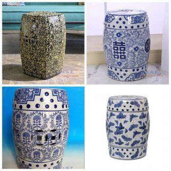 RZPZ29-33-34-37 景德镇陶瓷 现代中式手工雕花梳妆凳换鞋凳陶瓷鼓凳
