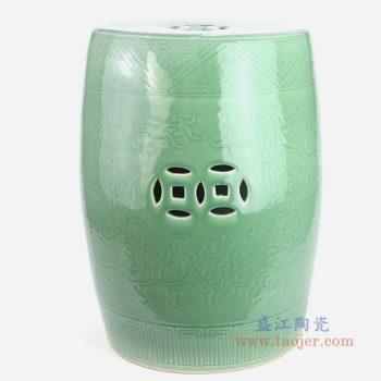RYMA102-B 景德镇陶瓷 中式纯色陶瓷鼓凳仿古凳子 鼓墩绣墩凉凳