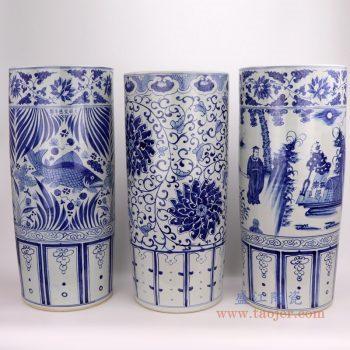 RZFH19-A-B-C 景德镇陶瓷 仿古做旧青花手绘鱼藻纹箭筒
