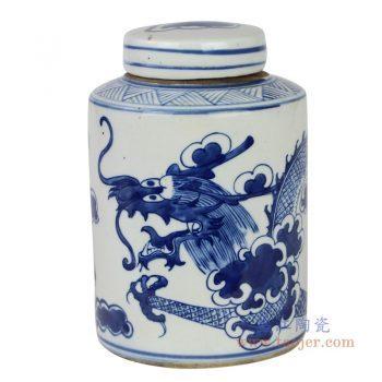 RZKT11-M 景德镇陶瓷 青花手绘龙纹茶叶罐盖罐储物罐