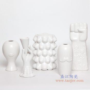 RZLK29-30-31-32-33 景德镇陶瓷 北欧美缪斯伊迪朵拉白色陶瓷雕刻抽象拳头人脸花瓶 组合图