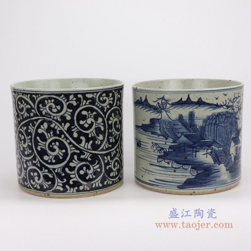 RZPJ07-A-B 盛江陶瓷 仿古做旧青花笔筒组合图