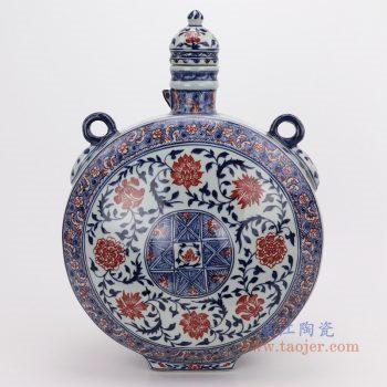 RYVK16 景德镇陶瓷 仿古做旧青花釉里红扁瓶手工花插摆件