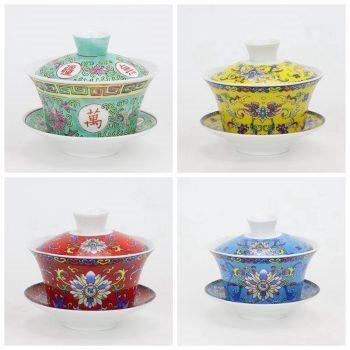 RYYY38-M-N-O-P 景德镇陶瓷 陶瓷/粉彩手绘红万寿无疆三头盖碗茶杯/三才碗