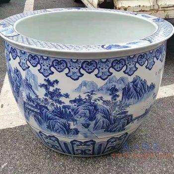 RZMJ02-A-MIDDLE 盛江陶瓷 高档大鱼缸 艺术鱼大缸 景德镇山水大缸鱼缸