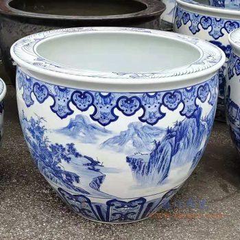 RZMJ02-A-small 景德镇陶瓷 高档大鱼缸 艺术鱼大缸 景德镇山水大缸鱼缸