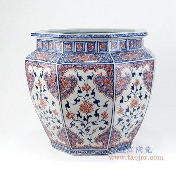 RYVK15 景德镇陶瓷 青花釉里红八面缸