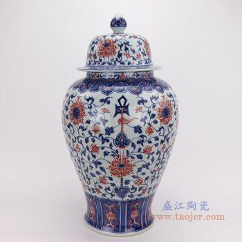 RYVK17 景德镇陶瓷 陶瓷花瓶青花釉里红瓷器摆件手绘将军罐