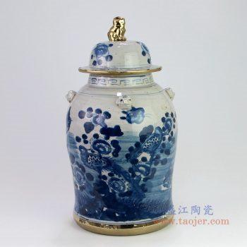 RZEY12-L-B 景德镇陶瓷 仿古做旧狮子头镀金花鸟将军罐