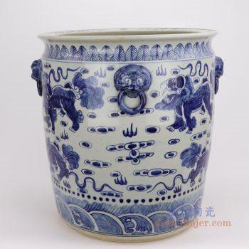 RZFH02-D 景德镇陶瓷 青花狮子纹云龙海水纹大缸