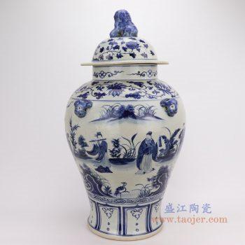 RZFH08-B 景德镇陶瓷 手绘青花人物花鸟狮子头将军罐