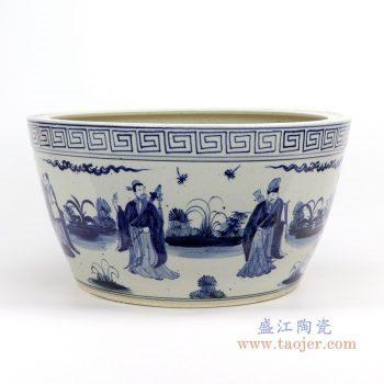 RZFH14-B 景德镇陶瓷 仿古做旧手绘青花人物陶瓷鱼缸