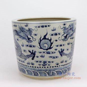 RZFH15 景德镇陶瓷 手绘青花双龙纹大缸