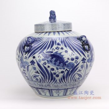 RZFH16-B 景德镇陶瓷 元青花手绘荷花鱼藻纹罐