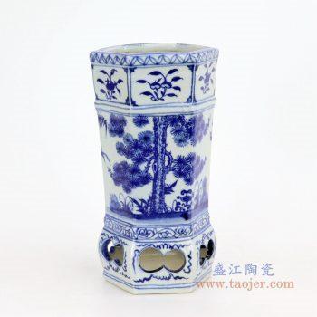RZFH17 景德镇陶瓷 青花手绘松竹梅纹花插花瓶