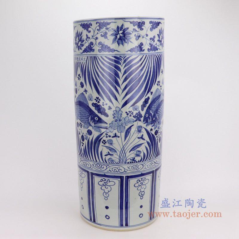 RZFH19-A 盛江陶瓷 仿古做旧青花手绘鱼藻纹箭筒