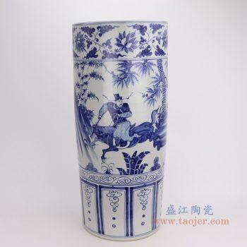 RZFH19-C 景德镇陶瓷 仿古做旧手绘青花人物树木图纹箭筒