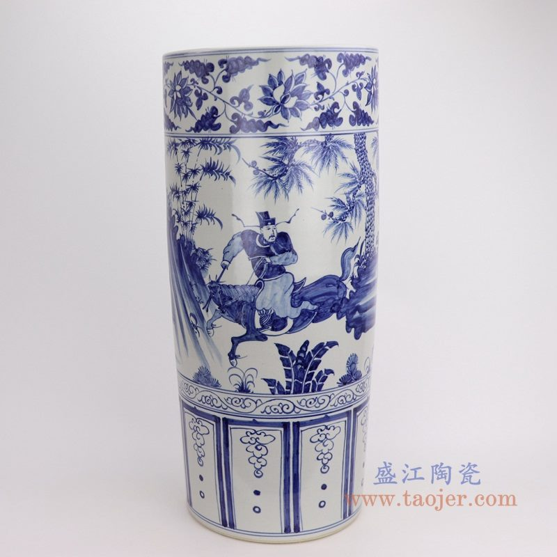 RZFH19-C 盛江陶瓷 仿古做旧手绘青花人物树木图纹箭筒