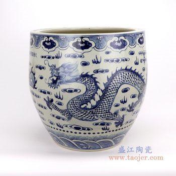 RZFH20-A-B 景德镇陶瓷 青花双龙纹云龙海水纹狮子纹大缸