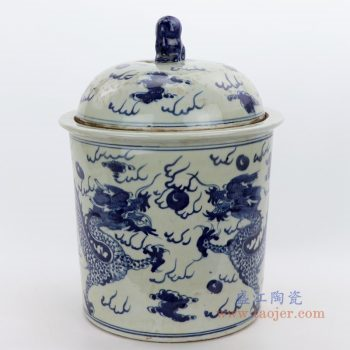 RZGC03-A 景德镇陶瓷 仿古做旧手绘青花云龙纹茶叶罐